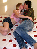 Slutty teen blonde babe is double penetrated by two pals